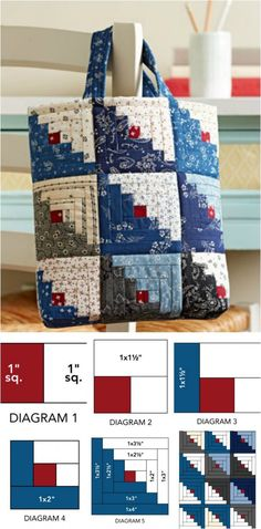How to make a quick and easy log cabin block tote bag from fabric scraps or charm pack squares.