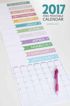 Free+Printable+Calendar+for+2017-+Get+Organized!