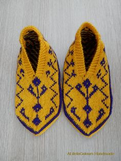 Turkish Anatolian hand knitted women's or men's yellow and purple colour slippers, slipper socks, house shoes.