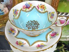 PARAGON AQUA BLUE TEACUP HVY GILT TEA CUP AND AND SAUCER DUO