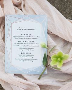 """Abstract Jewel"" foil-pressed wedding menu card by Minted artist Rebecca Bowen. Shop unique wedding stationery designs from our community of independent artists. Photo by Shay & Olive Photography Wedding Menu Cards, Wedding Invitations, Spicy Walnuts, Unique Wedding Stationery, Blue Wedding, Diy Wedding, Dried Cherries, Menu Design, Stationery Design"