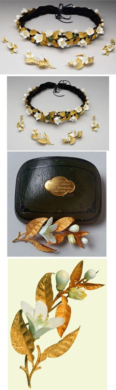 """Queen Victoria's Orange Blossom Parure, c1839. Materials: Gold, white porcelain. Prince Albert gave this to Queen Victoria as a anniversary gift. He had it custom made for her and added additional pieces over the following years. Victoria always wore the tiara on her wedding anniversary even after his death. The box is inscribed """"Sent to me/ by dear Albert/ from Wiesbaden/ Novr. 1839.″"""