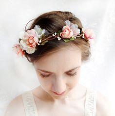 pink flower bridal wreath, bridal headpiece, blush pink hair circlet - EVER AFTER - flower girl, head wreath, garden wedding via Etsy