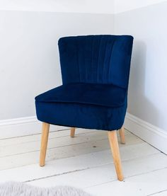 Sit in style with this statement inspired oyster chair finished in a luxurious textured navy velvet fabric. With a scallop fluted backed and stitched channels, this beautiful chair will add a touch of luxury into any home. Get free delivery! Velvet Furniture, Home Furniture, Navy Velvet Chair, Velvet Chairs, Patchwork Chair, Retro Bedrooms, Luxury Cushions, Small Accent Chairs, Living Room Accents