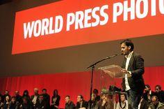 Spanish freelance photographer Samuel Aranda speaks after receiving a 2011 World…