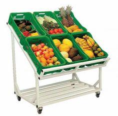 Bancada desmontavel Vegetable Rack, Fruit And Vegetable Storage, Vegetable Stand, Small Store Design, Retail Store Design, Fruit Displays, Store Displays, Food Clips, Supermarket Design