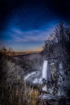 """""""Falling Spring Midnight"""" (Route 220 near Covington) by Chuck Almarez, featured in the Richmond Times-Dispatch on October 22, 2016. FUN FACT: This is a 2016 Virginia Vistas Photo Contest Honorable Mention winner in our Rivers & Waterways Category. ENJOY!!! #VirginiaVistas"""