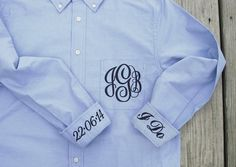 Bride or Bridal Party Shirt - Monogrammed Button Down Wedding Day Shirt  This brides wedding shirt is not only a fun new wedding trend, it makes a great wedding shower gift. The bride & bridal party can wear this handy bridal accessory while getting ready on wedding day. Also called a getting ready shirt or a wedding day shirt over sized button down dress shirt is the perfect solution to the age old problem that just about every bridal party faces. What do you wear while getting ready on the…