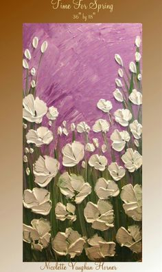 Stunning beautiful white flowers palette knife painting with purple, lilac background. Very nice painting idea.