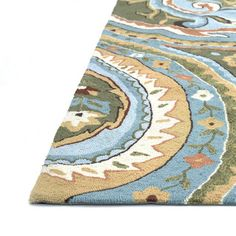 Hand-hooked Charlotte Blue/Green Rug (7'6 x 9'6) | Overstock.com