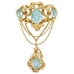Antique Gold And Aquamarine Swag Brooch With Herringbone Link Chains  c.1840