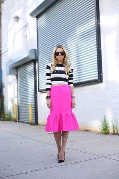 Skirt: ASOS. Top: Arden B. Shoes: Christian Louboutin. Sunglasses: Karen Walker 'Super Duper'. Jewelry:...