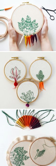 Felted Veggies Cling to Embroidery Hoops by Veselka Bulkan