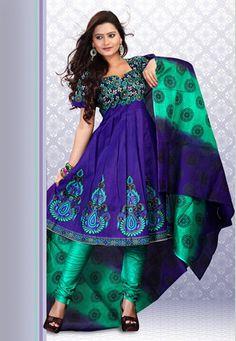 Purple Cotton Churidar Kameez