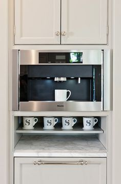 More Design Build - Built-in Coffee Station with Miele Coffee Maker and Monogrammed Cups
