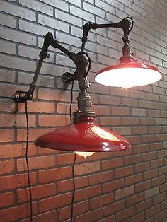Pair Vintage Industrial Fostoria Articulating Arm Wall Sconce Lights Red Shades Wall Sconce Lighting, Wall Sconces, Vintage Industrial Lighting, Lamps, Arm, Shades, Lights, Projects, Home Decor