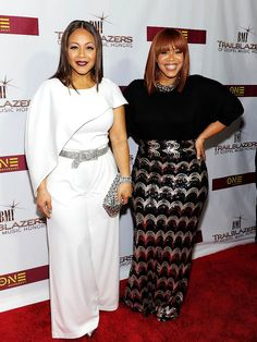 Erica Campbell and Tina Campbell of Mary Mary attend 2016 BMI Trailblazers of Gospel Music Award Show at Rialto Center for the Arts on January 16, 2016 in Atlanta, Georgia...LOVE THAT WHITE...tmd