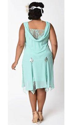 Unique Vintage Plus Size 1920s Style Mint Hemingway Flapper Dress