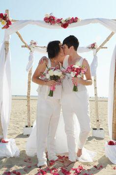 Lesbian wedding ceremony on the beach by Los Angeles Beach Gay Weddings