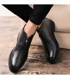 Men's #black leather slip on dress shoe #boots with Front zip fastening, work, office, business occasions.