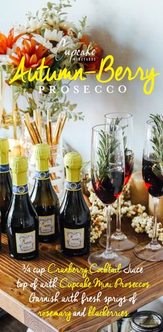 Infused with fresh rosemary, our Cupcake Vineyards Autumn Berry Prosecco is sure to dazzle your Friensgiving guests. #TREATTODAY #holiday #cocktail #winerecipes