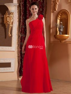Red Satin One-shoulder Floor Length Womens Bridesmaid Dress. Some dresses were made to be flattering to any body style and figure and this dress happens to be one of them. It features a gorgeous  fitted bodice with a one strap design and lovely gathered texture. The single strap is ma.. . See More Bridesmaid Dresses at http://www.ourgreatshop.com/Bridesmaid-Dresses-C926.aspx