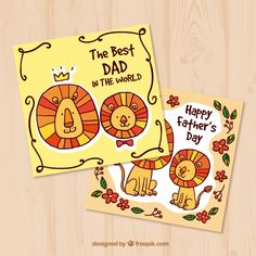 Father's day greeting cards with hand-drawn lions Free Vector