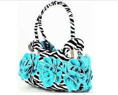 Super cute!!  Zebra Purse with Blue flowers!!