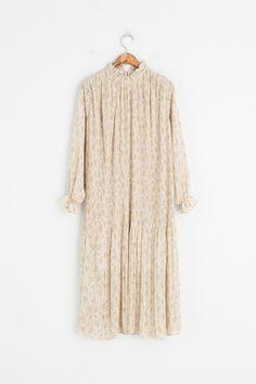 Frill Neck Long Pleated Flower Print Dress, Beige