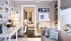 home office inspiration - looks like IKEA tables? Living Room Office, Home, House Design, Home Office Decor, Home And Living, Cozy House, Interior Design, Cozy Home Office, Home Deco
