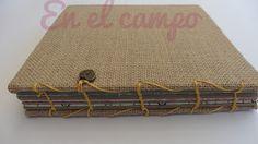 Mini álbum con tela de arpillera