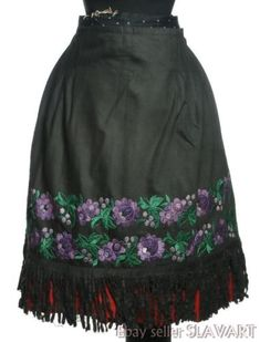 Made of old polished black cotton (early century) with an embroidered seam down the middle. The apron is now in very good condition and is ready for wear. embroidered seam and waistband replaced. Folk Costume, Costumes, Embroidered Apron, Collar And Cuff, Black Cotton, Pleated Skirt, Ethnic, Mini Skirts, Purple