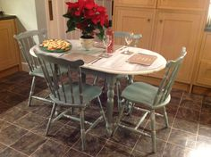 Extendable Dining room table and chairs painted in Annie Sloan duck egg blue with old white wash effect on top and dry brush old white on legs. Currently selling this week on eBay!