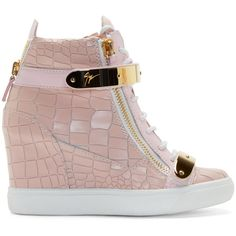 Giuseppe Zanotti Pink Lorenz High-Top Wedge Sneakers (6,700 EGP) ❤ liked on Polyvore featuring shoes, sneakers, heels, footwear, wedged sneakers, hi top wedge sneakers, wedge heel sneakers, heel sneakers and velcro wedge sneakers