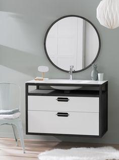 Modern Love- Black & White 'Cloud' wall mounted bathroom Vanity by Line Art Black Vanity Bathroom, White Bathroom, Modern Bathroom, Bathroom Vanities, Basin Unit, Traditional Cabinets, Wood Source, Floating Wall, Modern Love