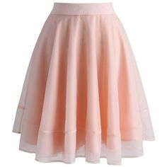 Chicwish Turely Tulle A-line Skirt in Pink ($47) ❤ liked on Polyvore featuring skirts, pink, pink knee length skirt, tulle skirt, pink skirt, layered skirt and see through skirt