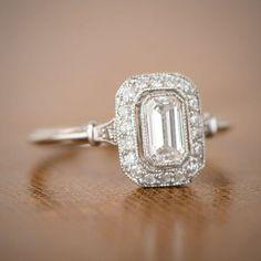 Vintage Style Emerald Cut Halo Ring by EstateDiamondJewelry