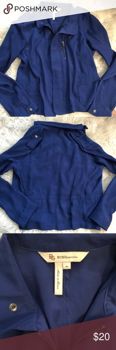BCBG blue jacket Super comfortable & cute! 100% polyester  In great condition-willing to accept reasonable offers! BCBGeneration Jackets & Coats Blazers