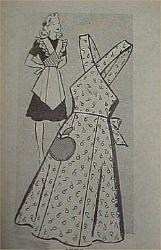 Vintage Bib Apron Full Size Pattern Sexy 1940s WWII Era Style Sewing Project APR 7984