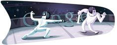 of July Olympic Doodle number London 2012 Fencing. Fencing is one of the oldest sports by the Olympic Games. Google Doodles, Doodle 4 Google, Logo Google, Art Google, Olympic Fencing, Olympic Logo, London Olympic Games, Giorgio Vasari, Doodle 2