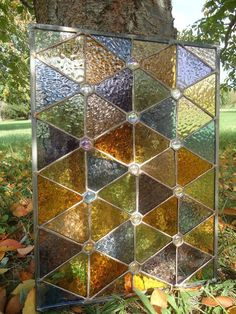 "Stained Glass Autumn Suncatcher Transom Window Panel 18"" x 13"""