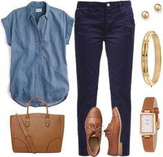 Mis combinaciones diarias: Blusa chambray Pantalón azul oscuro