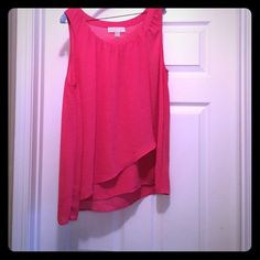 Michael Kors Pink top Bright Pink Michael Kors sleeveless top. Layered detail in the front is very figure friendly. Michael Kors Tops