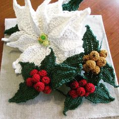 Poinsettias and winter berries or English holly berries