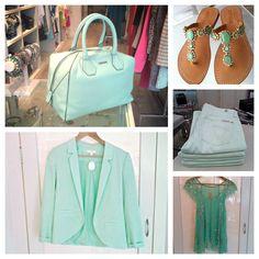 Loving Mint! Rebecca Minkoff bag,  Erin Featherson Blazer, Mystique sandals, Seven Cigarette  Jeans , Free People Top