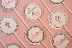 Baptism Christening Cupcake Toppers Baby Girl - with Pink Silver & White Set of 12