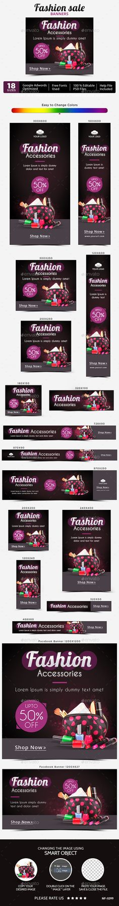 Fashion Accessories Web Banners Template PSD. Download here: http://graphicriver.net/item/fashion-accessories-banners/15014414?ref=ksioks