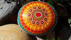hand painted stone mandala stone  gratitude tool by RockYourWorld7