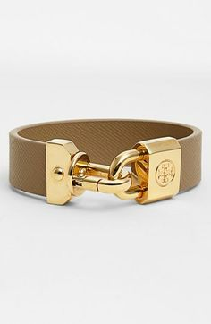 Tory Burch 'Basics' Logo Leather Bracelet available at #Nordstrom
