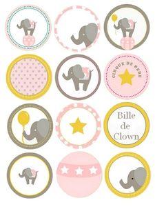 for cupcakes or cookies Printable Labels, Printable Paper, Free Printables, Baby Shower Etiquette, Bottle Cap Images, Bottle Caps, Elephant Theme, Silhouette Portrait, Free Prints